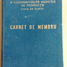 Carnet de membru Casa de pensii Cooperativa Agricola de Productie/ 1966 - Pasaport/Document