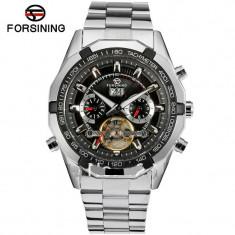 Ceas automatic Forsining Tourbillion Black 2015 - Ceas barbatesc, Casual, Mecanic-Manual