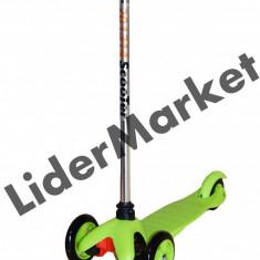 Trotineta pentru copii verde cu roti din silicon - Greutate suportata - 40 Kg - Trotineta copii