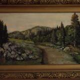 Tablou peisaj de munte, Peisaje, Ulei, Realism