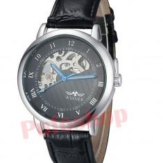 Ceas elegant mecanic Winner Luxury Black Edition + cutie CADOU - Ceas barbatesc, Mecanic-Manual, Piele ecologica, Nou