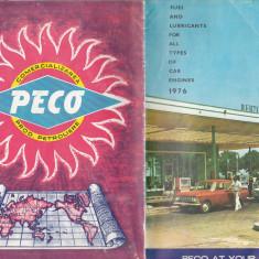 Pliant PECO cu harta Romaniei - anii `80