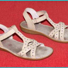 DE CALITATE _ Sandale piele, comode, aerisite, fiabile ELEFANTEN _ fete   nr. 36 - Sandale copii, Culoare: Bej, Piele naturala