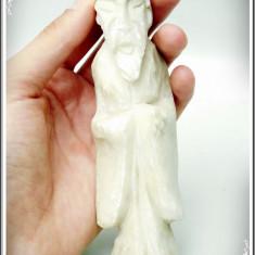 STATUETĂ FĂCUTĂ MANUAL DIN MARMURĂ SAU ALABASTRU - CONFUCIUS / ÎNȚELEPT, VECHE! - Sculptura