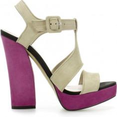 Sandale ZARA Purple Suede Wide Heel Sandal nr 38, piele naturala - Sandale dama Zara, Culoare: Crem