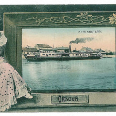 2918 - L i t h o, ORSOVA, ship on the harbor - old postcard - used - Carte Postala Oltenia pana la 1904, Circulata, Printata