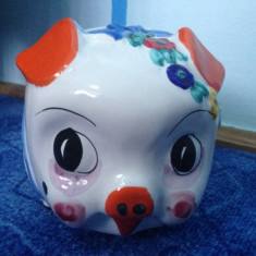 Pusculita ceramica purcel pictat manual