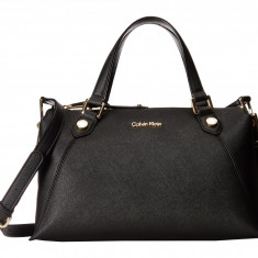 Geanta Calvin Klein Saffiano Satchel | 100% original, import SUA, 10 zile lucratoare z12107 - Geanta Dama Calvin Klein, Geanta de umar, Negru, Piele