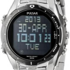 Pulsar Men's PQ2001 Silver-Tone Digital | 100% original, import SUA, 10 zile lucratoare a12107 - Ceas barbatesc Pulsar, Quartz, Electronic