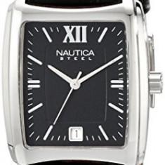 Nautica Men's N07546 Leather Square | 100% original, import SUA, 10 zile lucratoare a12107 - Ceas barbatesc Nautica, Quartz