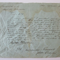 DOCUMENT TRIBUNALUL GORJU 1862 SEMNAT DE POSTELNICUL I.BALTEANU - Pasaport/Document, Europa