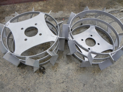 Roti metalice pentru motocultor 42cm pereche metal fier motosapa foto