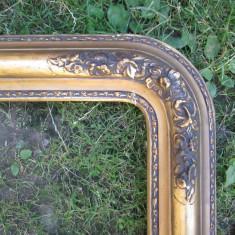 Rama antica ornamentata , veche , pentru oglinda sau tablou , foita aur, Lemn, Dreptunghiular