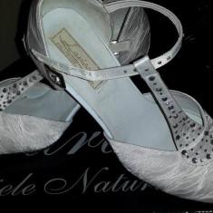 Pantofi mireasa, marimea 38 - Pantof dama, Culoare: Alb, Piele naturala