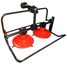 Cositoare rotativa pentru motocultor cu doua discuri, actionare pe cardan