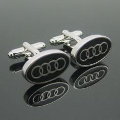 Butoni noi model auto audi inox metalici argintii + cutie simpla cadou