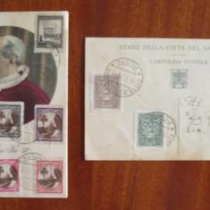 Lot 2 CARTI POSTALE VECHI VATICAN (cu 18 timbre POSTA VATICANULUI, 1944-1945), Ambele, Printata, Europa