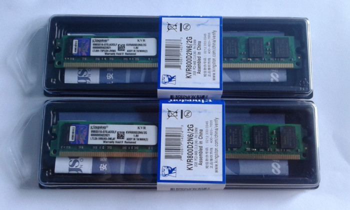 Kit Memorie PC Kingston 2x2Gb(4gb) DDR2 800mhz Pc2-6400,CL6 ,Sigilate Noi foto mare