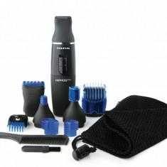 Aparat de barbierit Taurus Hipnos Plus, Pentru barba si mustata, 15 accesorii, culoare negru-albastru - Aparat de Ras
