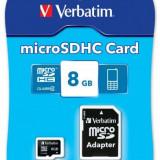 Card memorie Verbatim micro SDHC 8GB, Clasa 4 + adaptor SD