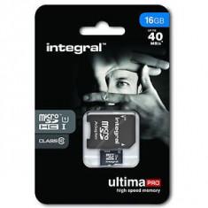 Card memorie Integral UltimaPro micro SDHC, 16 GB, clasa 10 + Adaptor SDHC - Card Micro SD