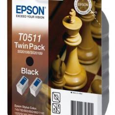 Epson Pachet 2 tonere inkjet negre Epson T0511 2x24ml, 2x900pag - Riboane imprimanta
