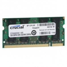 Crucial Memorie Crucial SO-DIMM 2GB DDR2, 667MHz, PC2-5300, CL5, CT25664AC667 - Memorie RAM