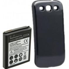 Baterie extinsa 4500 mah + capac spate negru pentru Samsung Galaxy S3 + folie, Li-ion