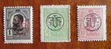 Timbre CAROL I tipografiate, cu supratipar (1918, serie 3 timbre)