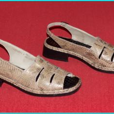 DE FIRMA _ Sandale din piele, comode, fiabile, calitate RICHTER _ femei | nr. 39 - Sandale dama Rieker, Culoare: Bej, Marime: 40, Piele naturala
