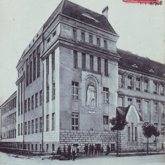 Ok-1590- Romania, Szatmar-Nemeti, Satu Mare c.p. circ. 1915 TCV: Gimnaziul Cat., Circulata, Fotografie