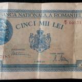 ROMANIA 5000 5.000 LEI 21 8 1945 AUGUST seria 0013185 filigran vertical XF ** - Bancnota romaneasca