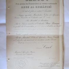RAR! BREVET CAROL I STEAUA ROMANIEI COMANDOR 1897, SEMNAT D.STURDZA SI D.I.GHICA