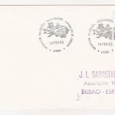 Bnk fil Spania 1980 aerofilatelie plic stampila ocazionala Foronda