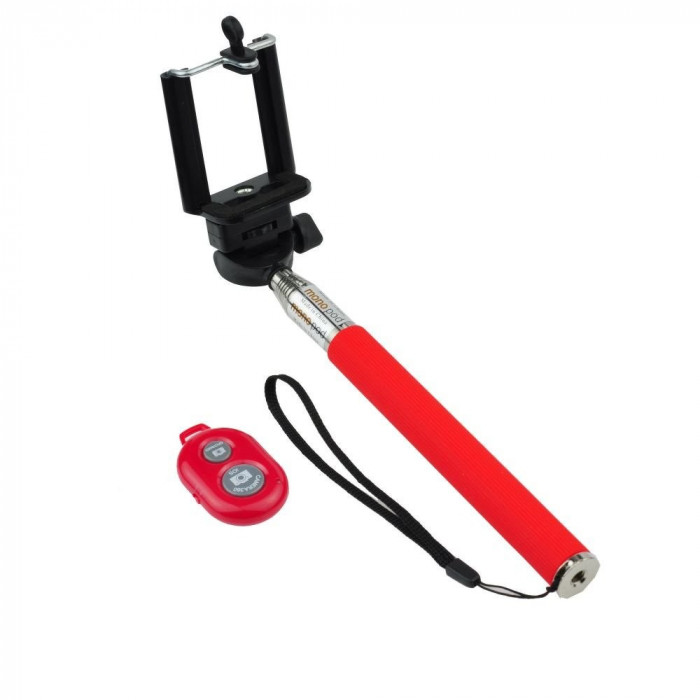 Selfie stick telescopic Red Bluetooth foto mare