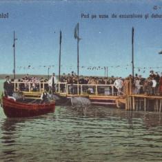Romania, Tekir-Ghiol carte postala necirculata: Pod, debarcader, animat - Carte Postala Dobrogea 1904-1918, Fotografie, Techirghiol