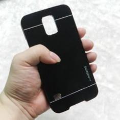Husa aluminiu cu plastic MOTOMO Samsung Galaxy S5 i9600 G900 + folie ecran - Husa Telefon, Negru, Metal / Aluminiu