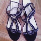 Sandale dama femei fete culoare neagra noi cu strasuri pt nunta marime 41, Culoare: Negru