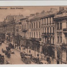 BUCURESTI, BULEV ELISABETA, MASINI DE EPOCA, TRASURI, ANIMATIE - Carte Postala Muntenia 1904-1918, Necirculata, Printata