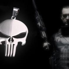 Lant din piele, pandantiv din metal cu semnul The Punisher