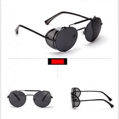 Ochelari de soare STEAMPUNK, Unisex, Negru, Rotunzi, Metal, Fara protectie