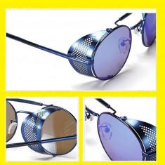 Ochelari Rotunzi de soare STEAMPUNK, Unisex, Albastru, Metal, Fara protectie