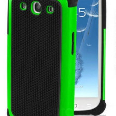 Husa silicon rigid protectie antisoc Samsung Galaxy S3 i9300 verde cu negru - Husa Telefon