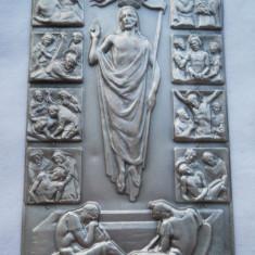 Veche Icoana buzunar tip carte Drumul Crucii avand detalii Splendide Rara - Icoana din metal