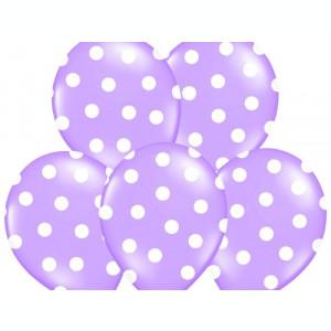 Baloane lila cu buline albe, 30cm, 5 buc/set