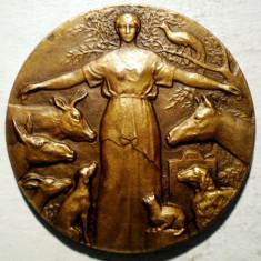 5.006 FRANTA MEDALIE SOCIETATEA PENTRU PROTECTIA ANIMALELOR M. LAFON 1933 41mm, Europa