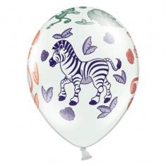 Baloane albe, imprimate ''ZOO'', 6buc/set - Baloane copii