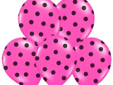 Baloane roz cu buline negre, 30 cm, 5buc/set