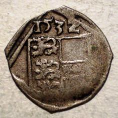 F.319 AUSTRIA BOHEMIA FERDINAND I PFENNIG 1532 ARGINT 13mm/0, 35g UNIFATA - Moneda Medievala, Europa