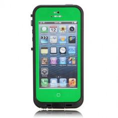 Toc subacvatic verde impermeabil cu prelungitor casti audio iPhone 5 + folie - Husa Telefon Apple, iPhone 5/5S/SE, Piele Ecologica, Cu clapeta, Husa